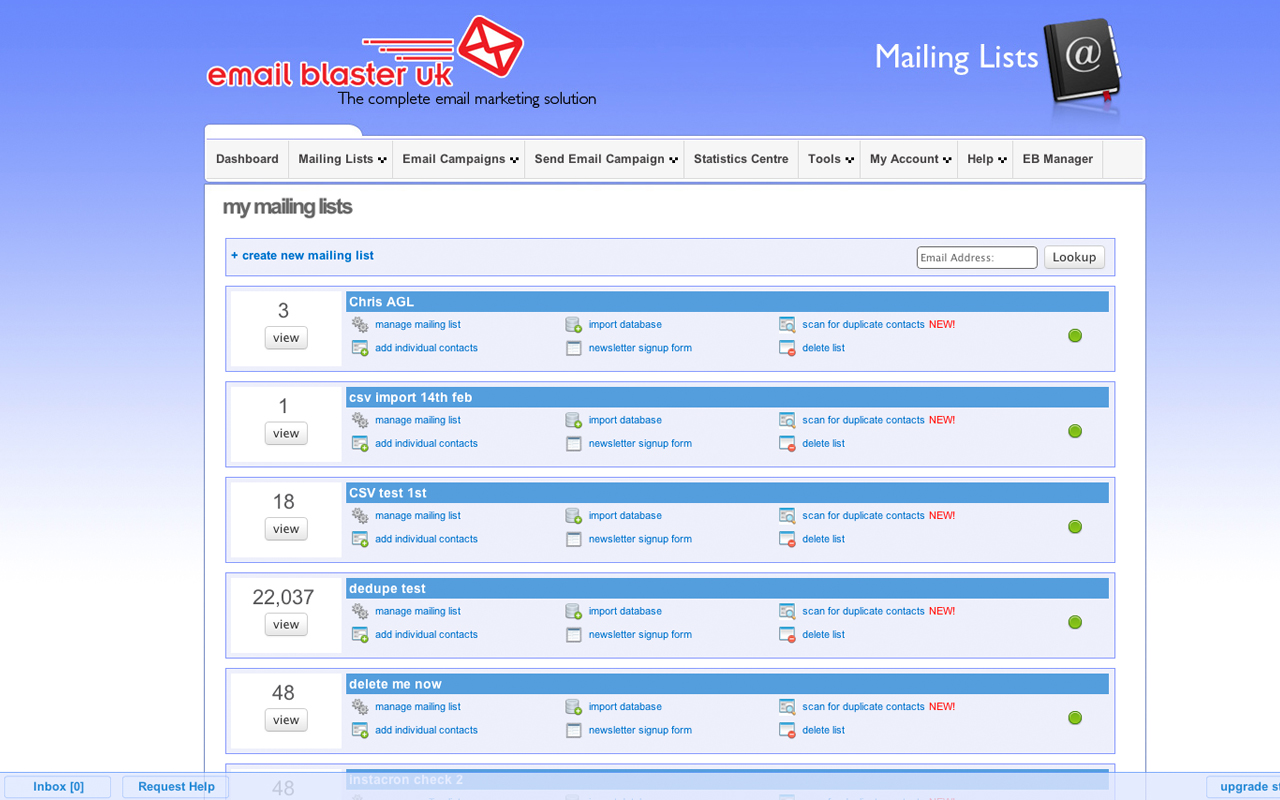 Email Marketing Uk View And Manage Your Mailing Lists