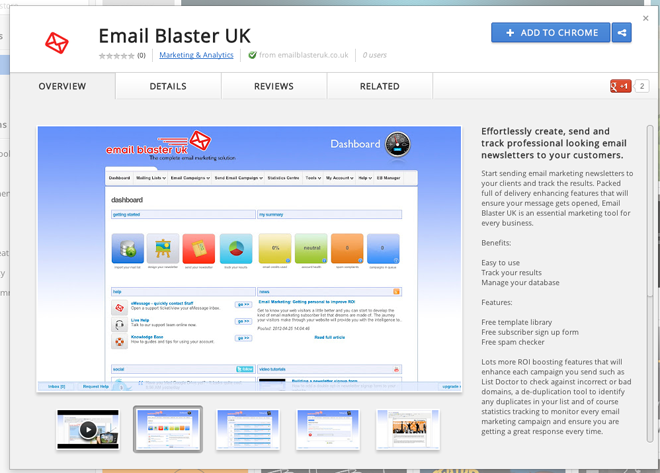 Email Marketing Google Chrome App