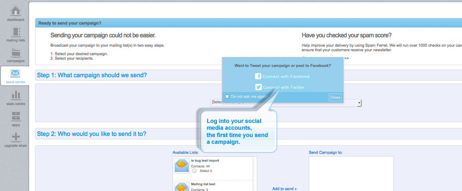 Email Blaster facebook login