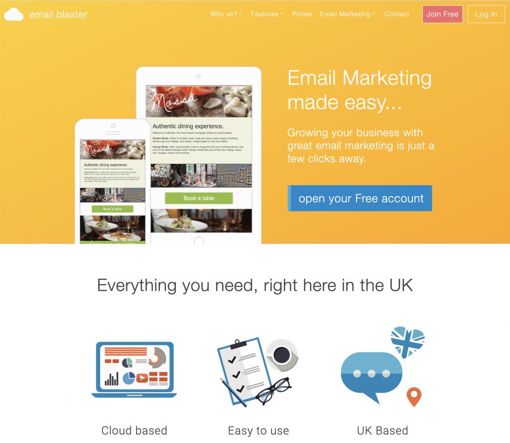 Email Blaster UK homepage